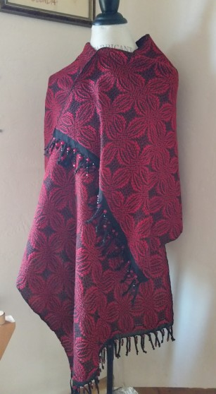 Shawl Red Overshot 2